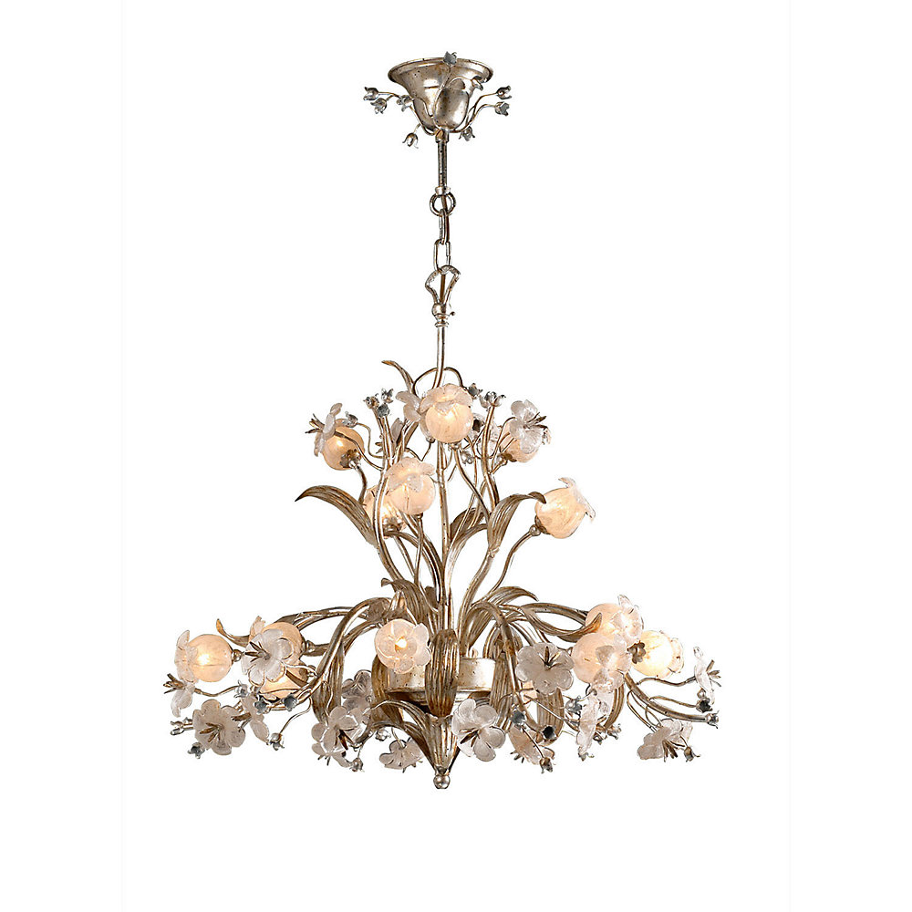 15 Light Ceiling Fixture With Flowers