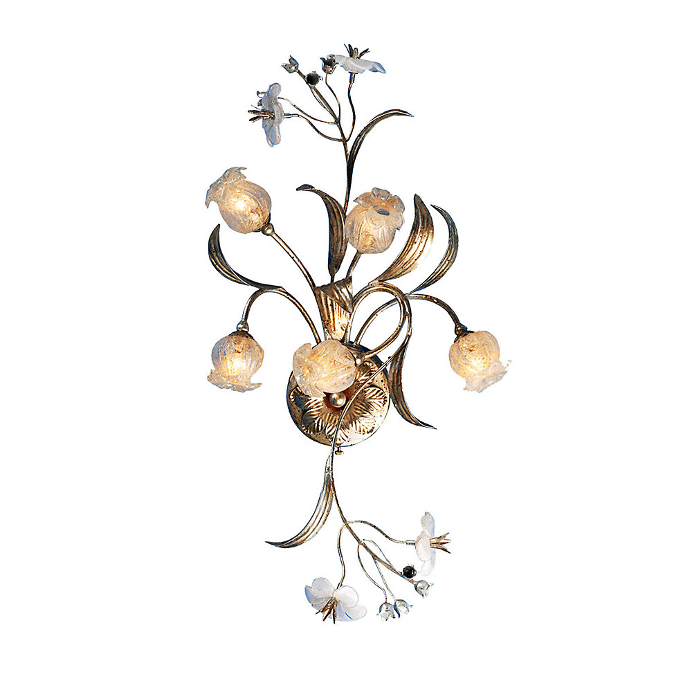 5 Light Wall Sconce With Flowers