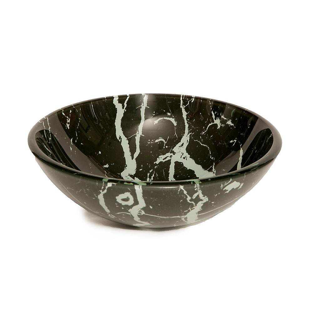 Glass Vessel Sink in Black and White Marble