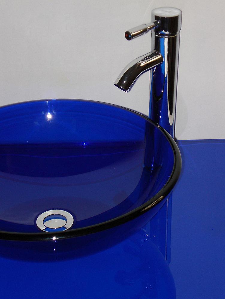 37-Inch W Glass Vanity Top in Cobalt Blue