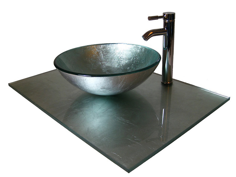 37-Inch W Glass Vanity Top in Silver Foil