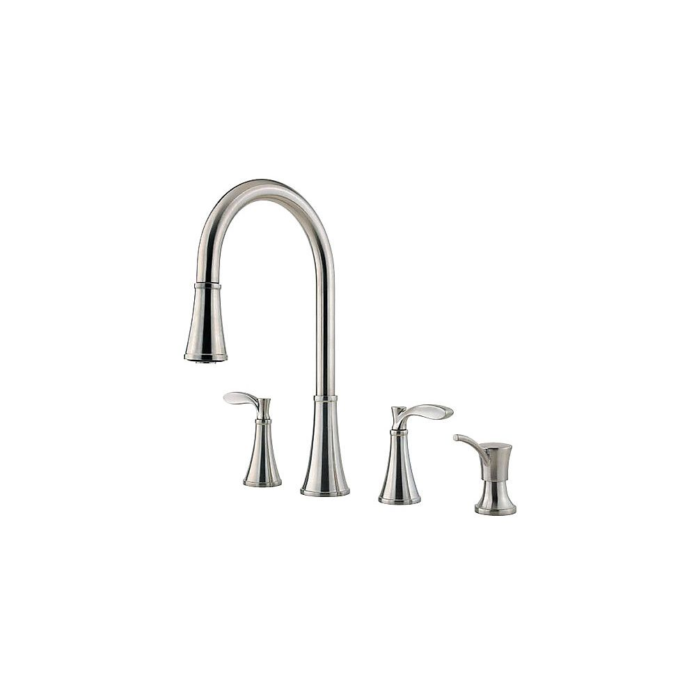 Peteluma 2-Handle 4-Hole Pull-Down Kitchen Faucet with Soap Dispenser in Stainless Steel F531-4PAS in Canada
