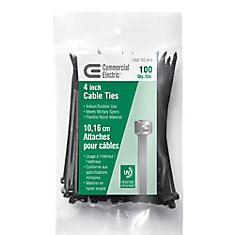 4IN UV BLACK CABLE TIE 100 PACK