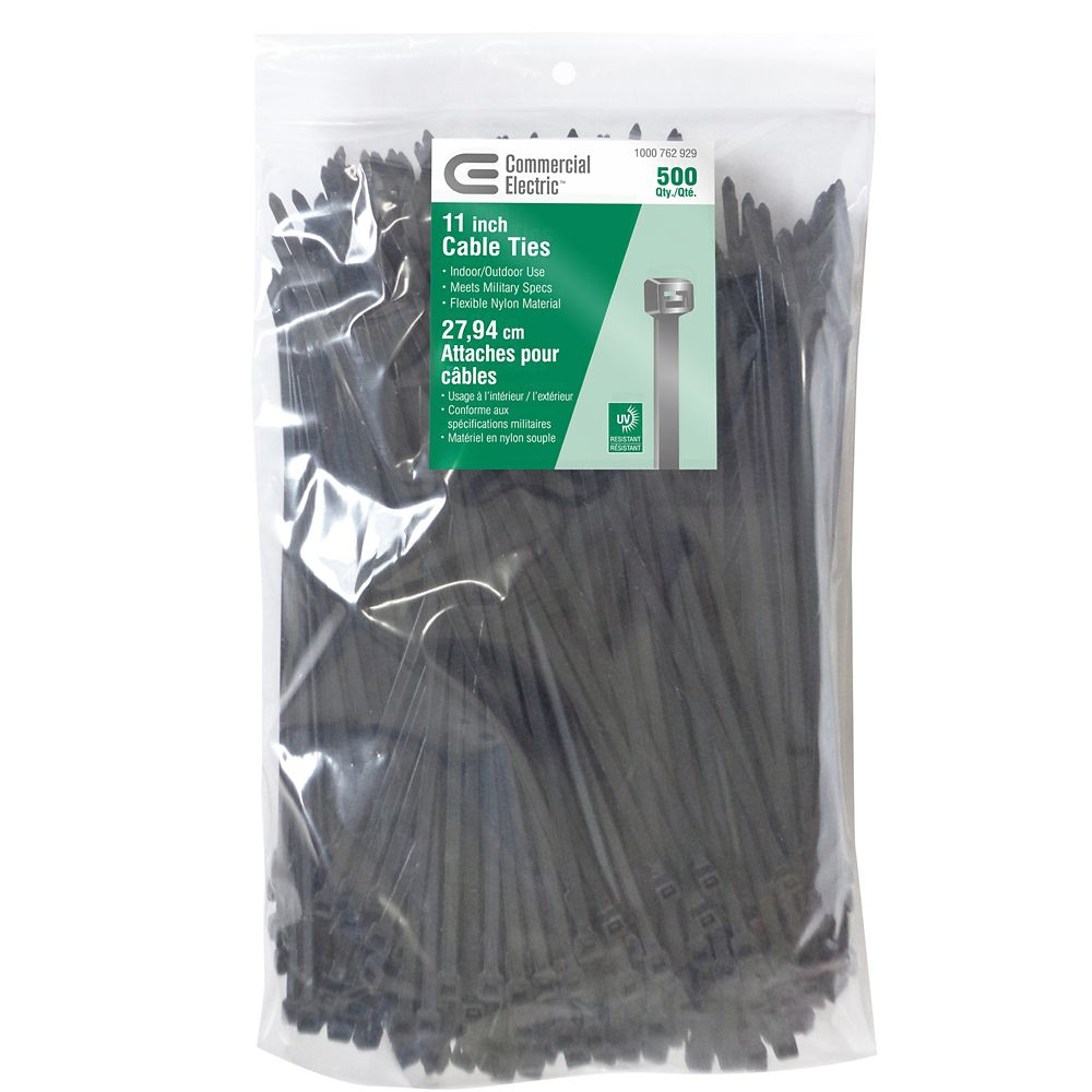 11IN UV BLACK CABLE TIE 500 PACK