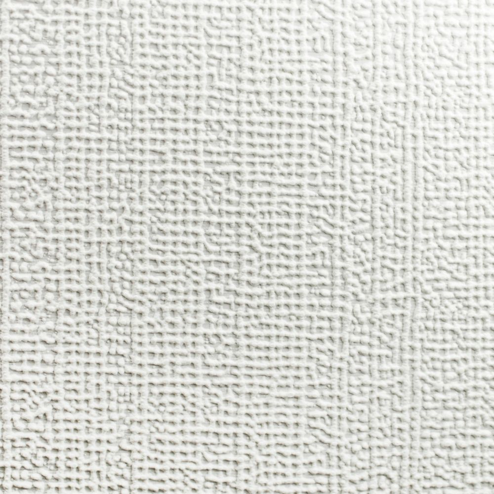 Linen Paintable White Wallpaper