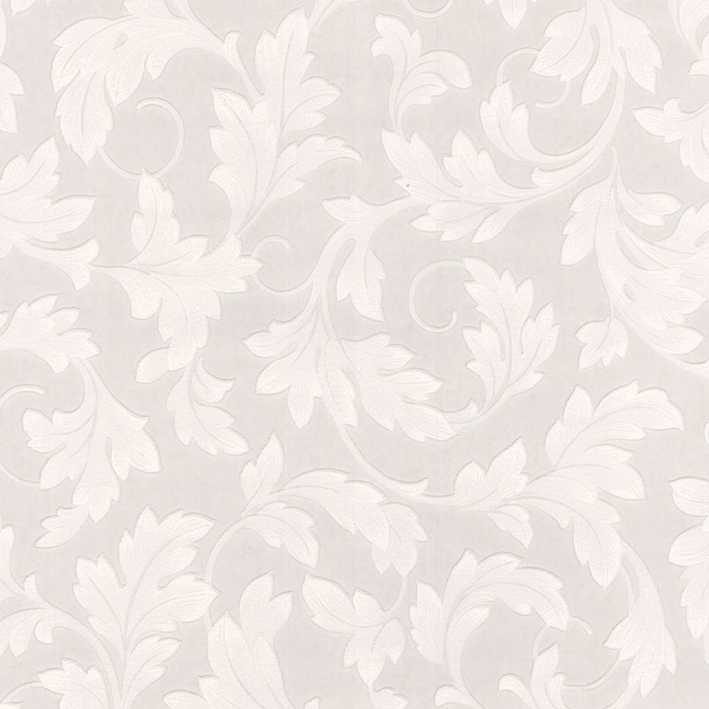 Large Scrolling Leaf Paintable White Wallpaper