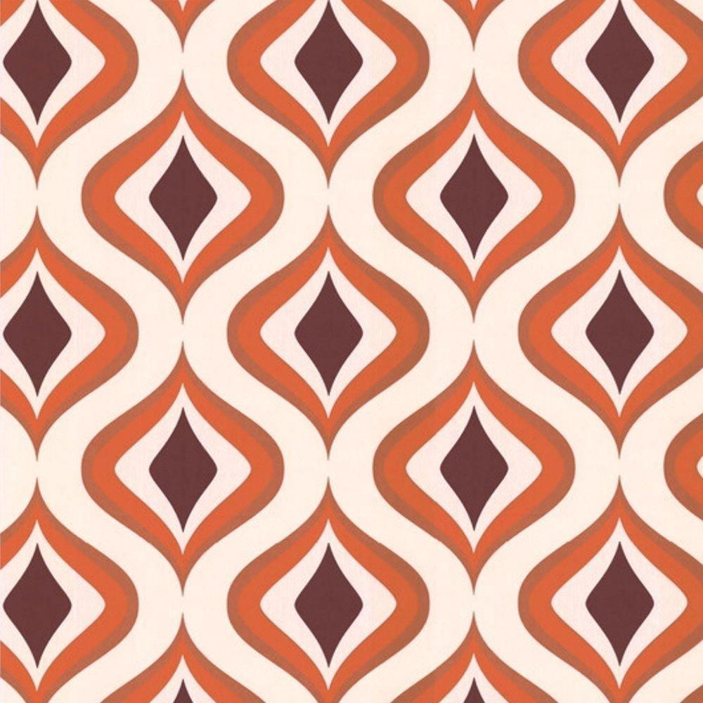 Trippy Orange/Brown/Cream Wallpaper