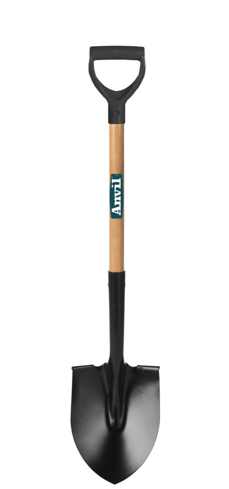 HDX, Round Point Shovel with wood handle and D-Grip