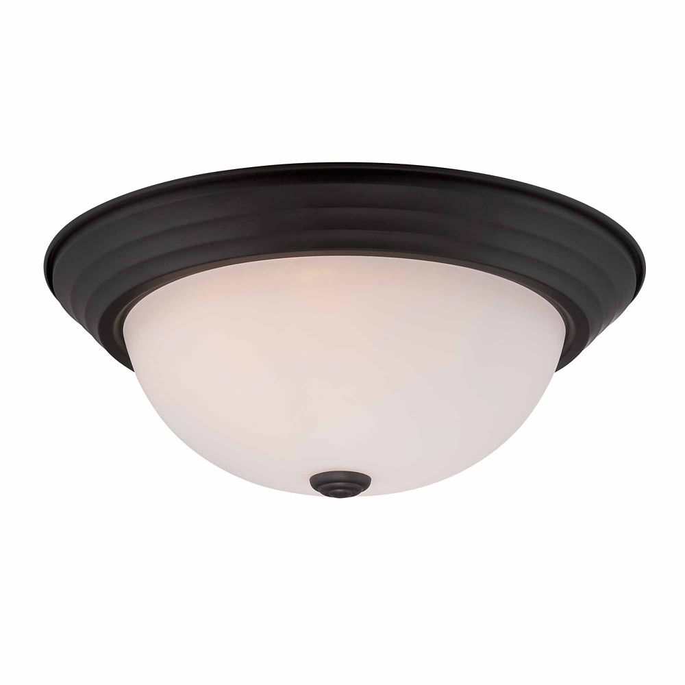Commercial Electric 2-Light 60W Satin Bronze Flushmount Ceiling Light with White Opal Glass Shade