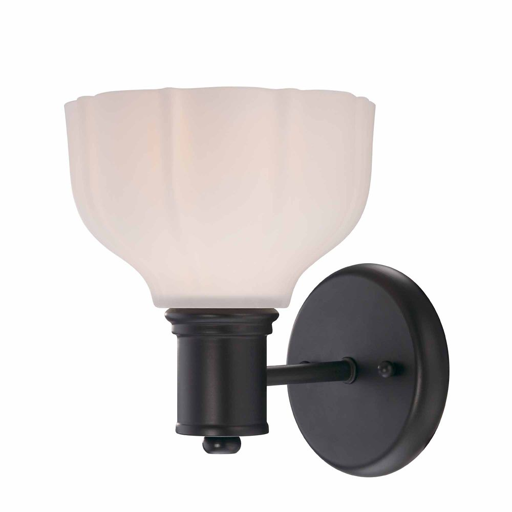 1-Light Wall Sconce with White Opal Glass, Satin Bronze Finish