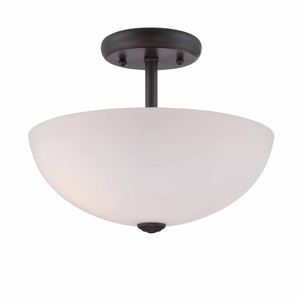 Commercial Electric Semi-Flush with White Opal Glass, Satin Bronze Finish
