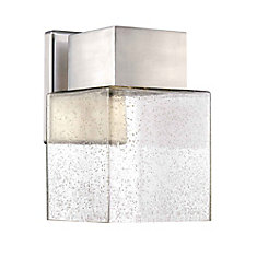 1-Light Outdoor LED Wall Lantern in Brushed Nickel with Seedy Glass