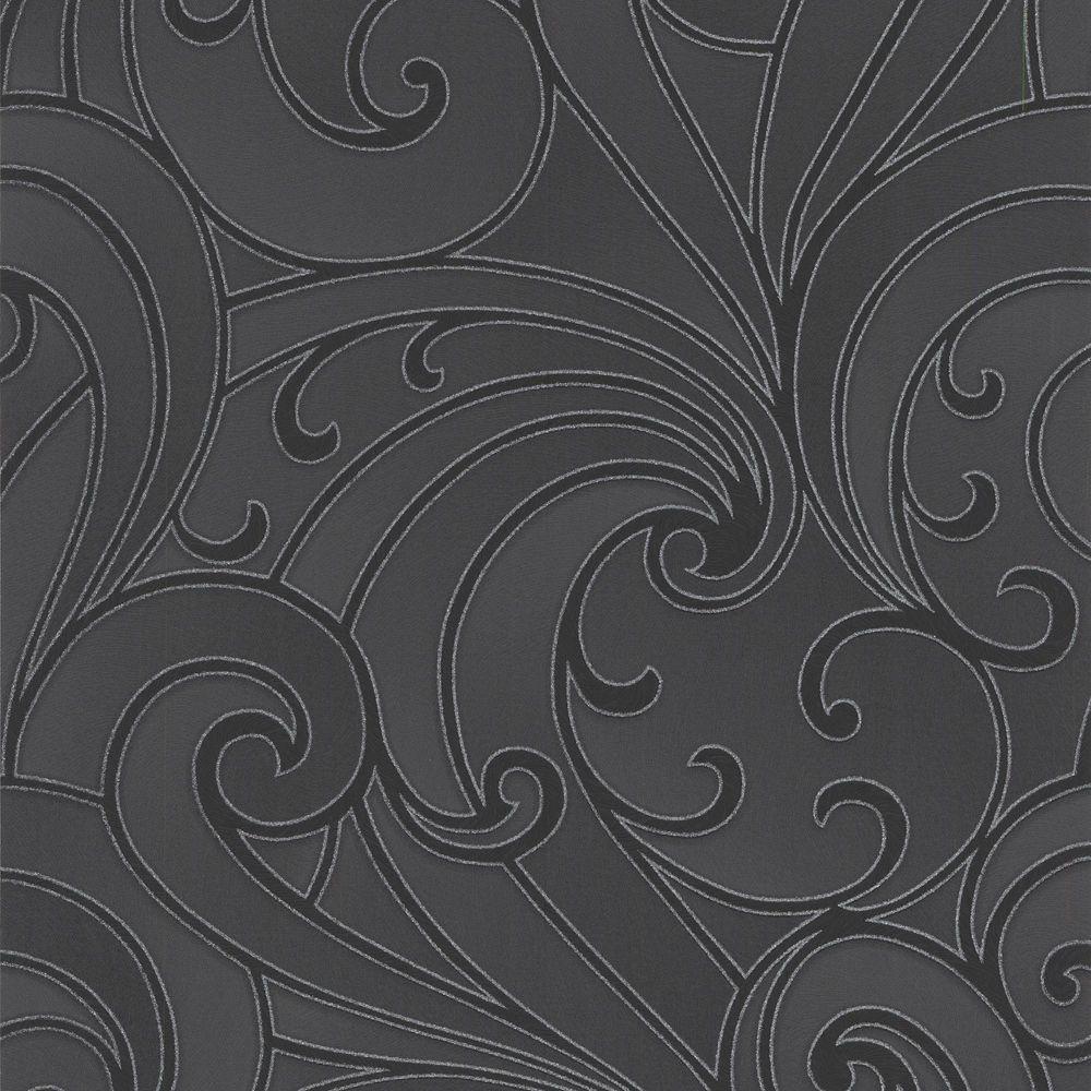 Saville Black/Charcoal Wallpaper
