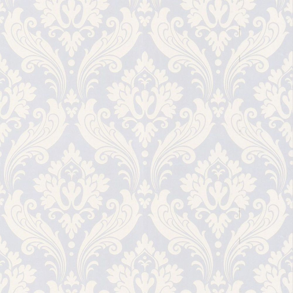 Vintage Flock White Wallpaper