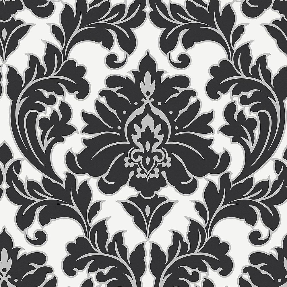 Majestic Black/White/Silver Wallpaper