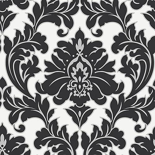 Majestueux Papier Peint Noir/Blanc/Argent