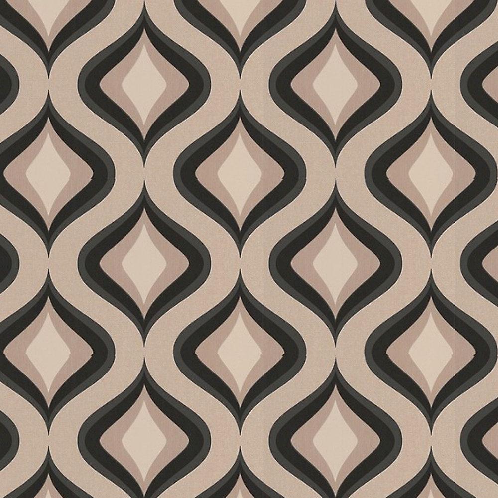 Trippy Black/Beige Wallpaper