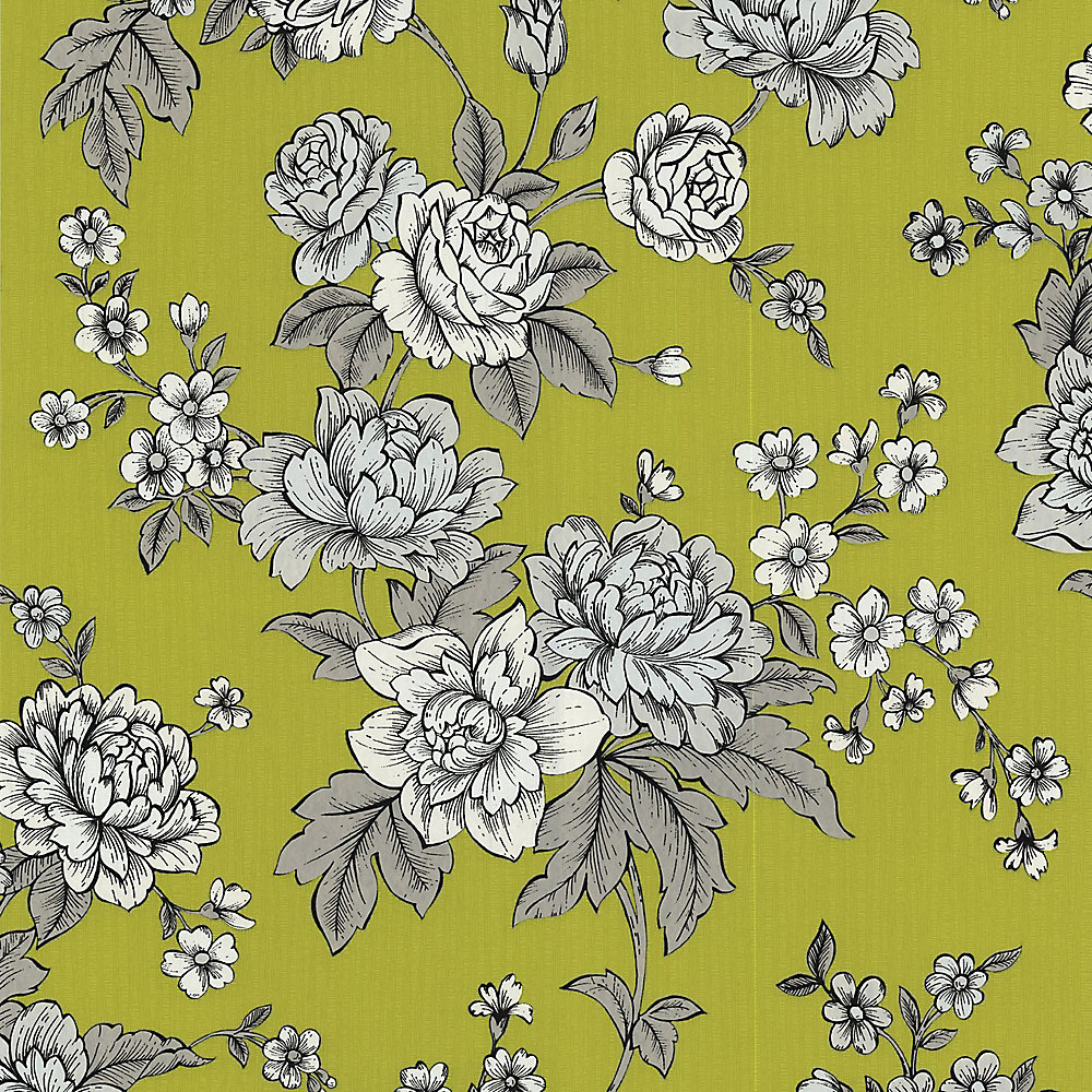 Kensington Green/White Wallpaper