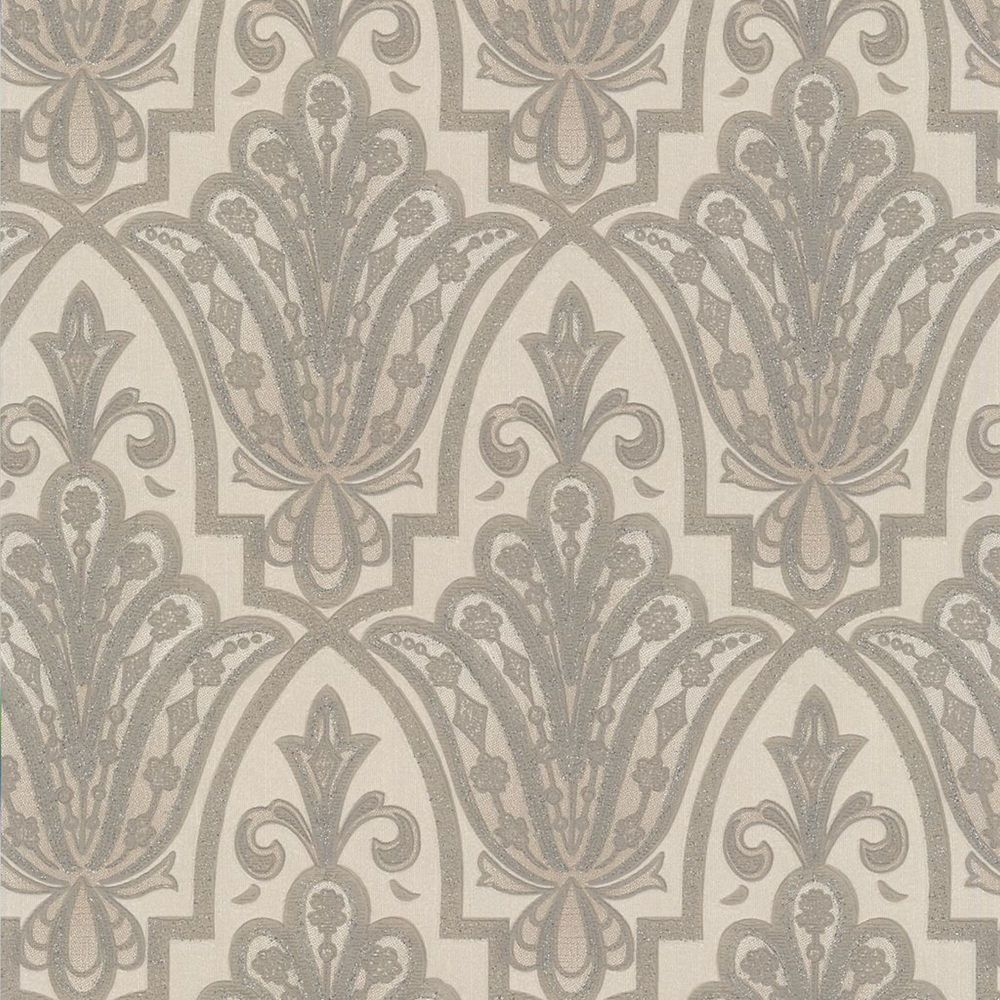 Ritzy Cream/Silver Wallpaper