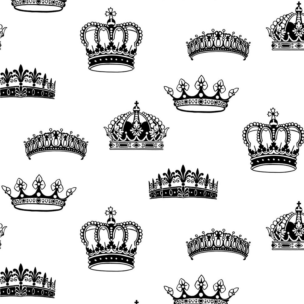 Crowns & Coronets Black/White Wallpaper