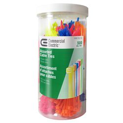 Commercial Electric 500-Piece MULTICOLOR TIE CANISTER