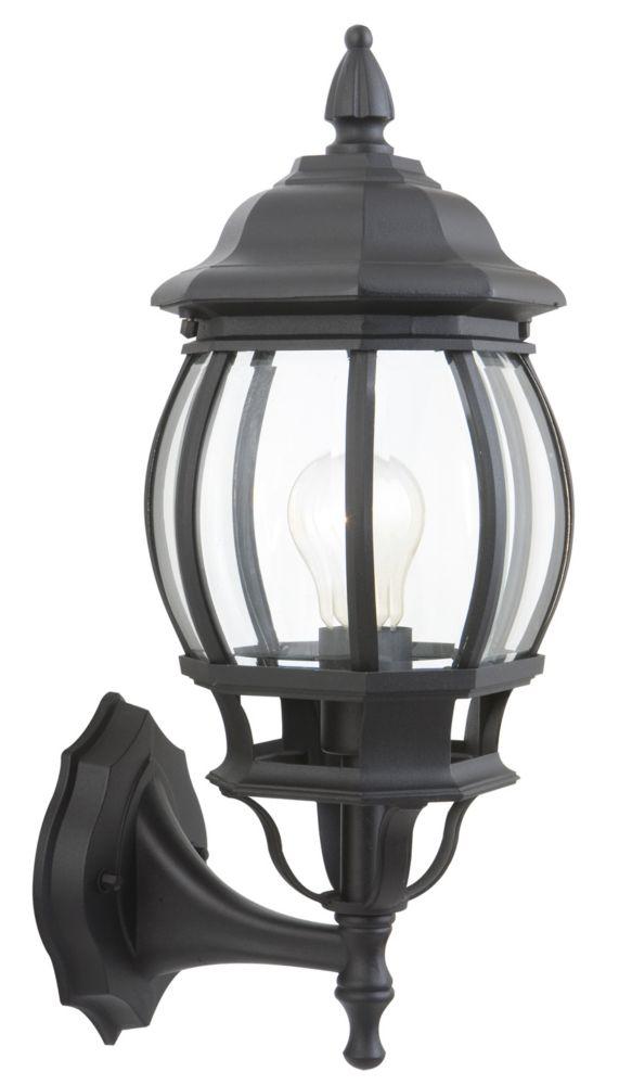 Hampton Bay 16 5 Inch 1 Light Outdoor Wall Lantern In Black The Home Depot Canada