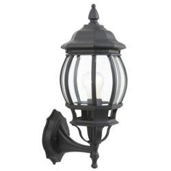 Hampton Bay Applique d'extérieur Icaria noire, à une ampoule, 60W, avec diffuseur en verre biseauté transparent