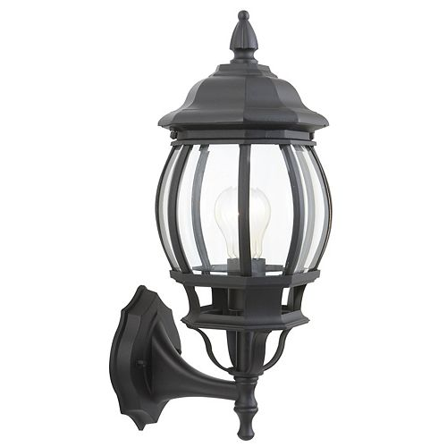Hampton Bay Icaria 60W 1-Light Black Outdoor Wall Lantern with Clear Bevelled Glass