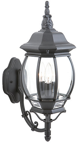 Hampton bay exterior wall lantern black the home depot canada aloadofball Choice Image