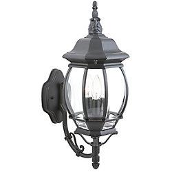 Hampton Bay Applique d'extérieur Icaria noire, à trois ampoules, 60W, diffuseur en verre biseauté transparent