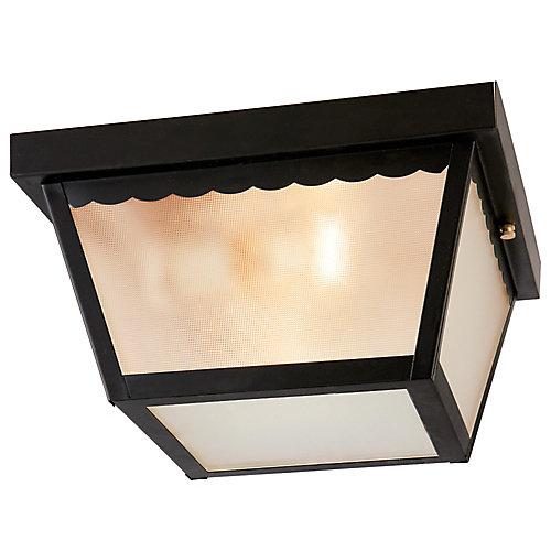 60W 2-Light Matte Black Outdoor Flushmount