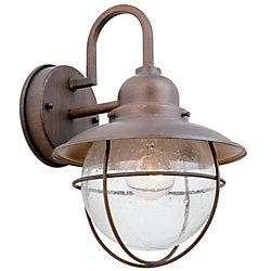 Hampton Bay Applique d'extérieur Matira bronze, à une ampoule, 60W, avec diffuseur en verre granulé