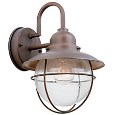Matira 60W 1-Light Bronze Outdoor Wall Lantern with Seeded Glass Shade