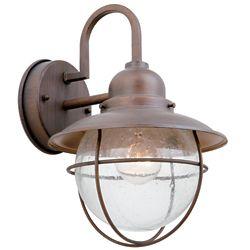 Hampton Bay Matira 60W 1-Light Bronze Outdoor Wall Lantern with Seeded Glass Shade