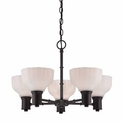 Commercial Electric 5-Light 100W Satin Bronze Chandelier with White Opal Glass Shades