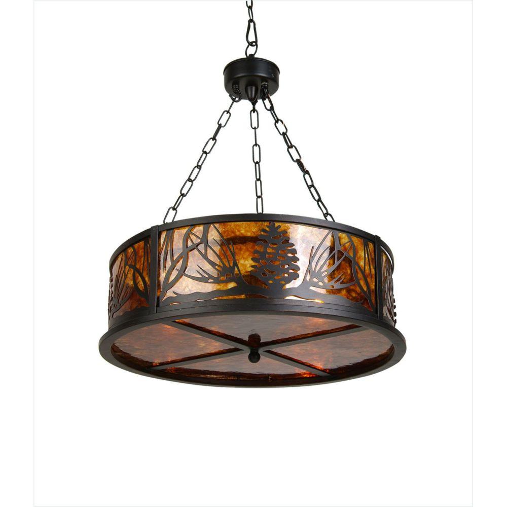 3 Light Ceiling Lamp Amber Finish/Black Finish