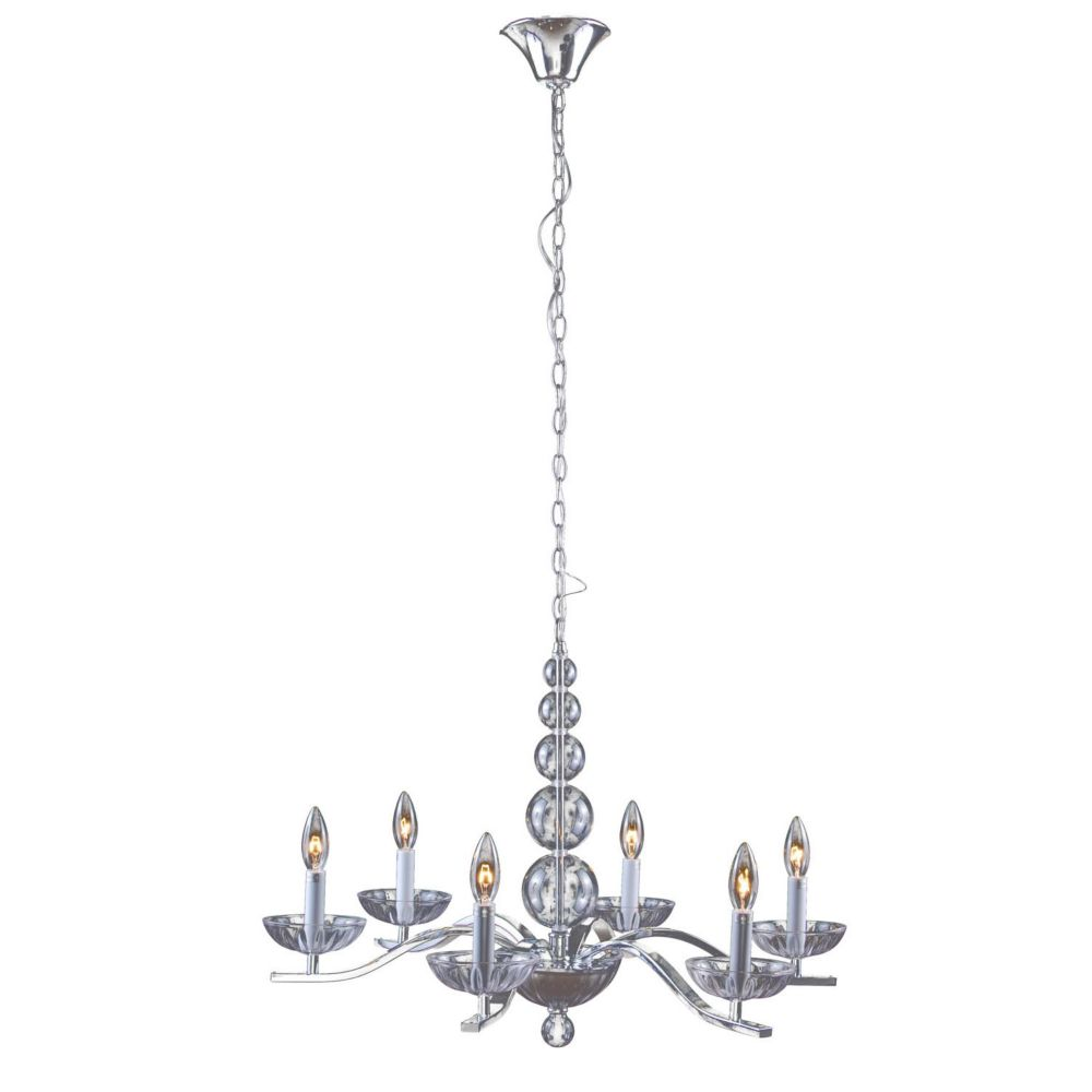 6 Light Ceiling Fixture Clear Finish Glass
