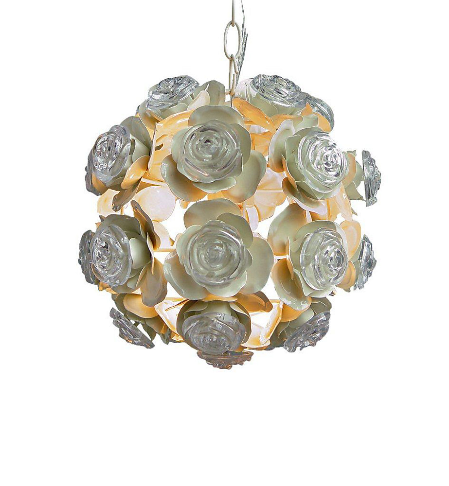 1 Light Round Fixture With Rosettes Cream Finish