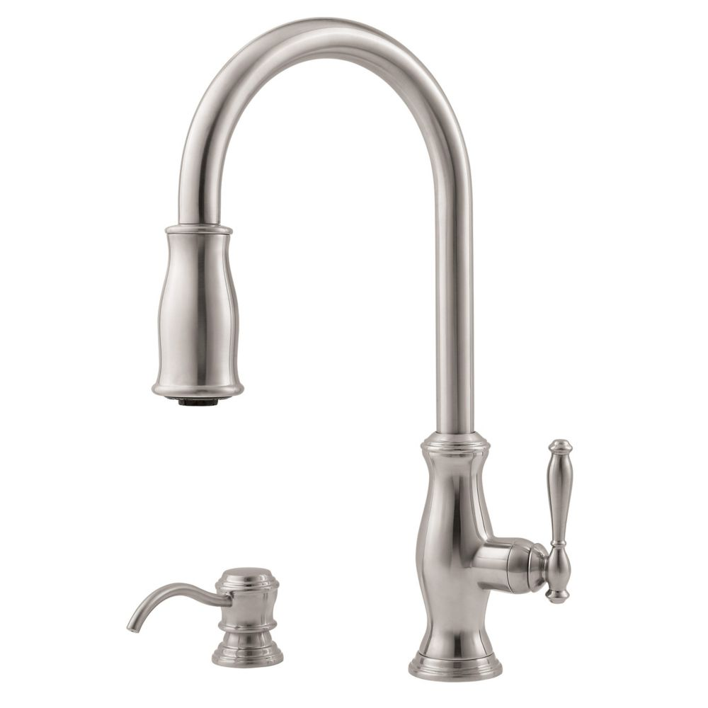kitchen faucet with soap dispenser in stainless steel the home depot