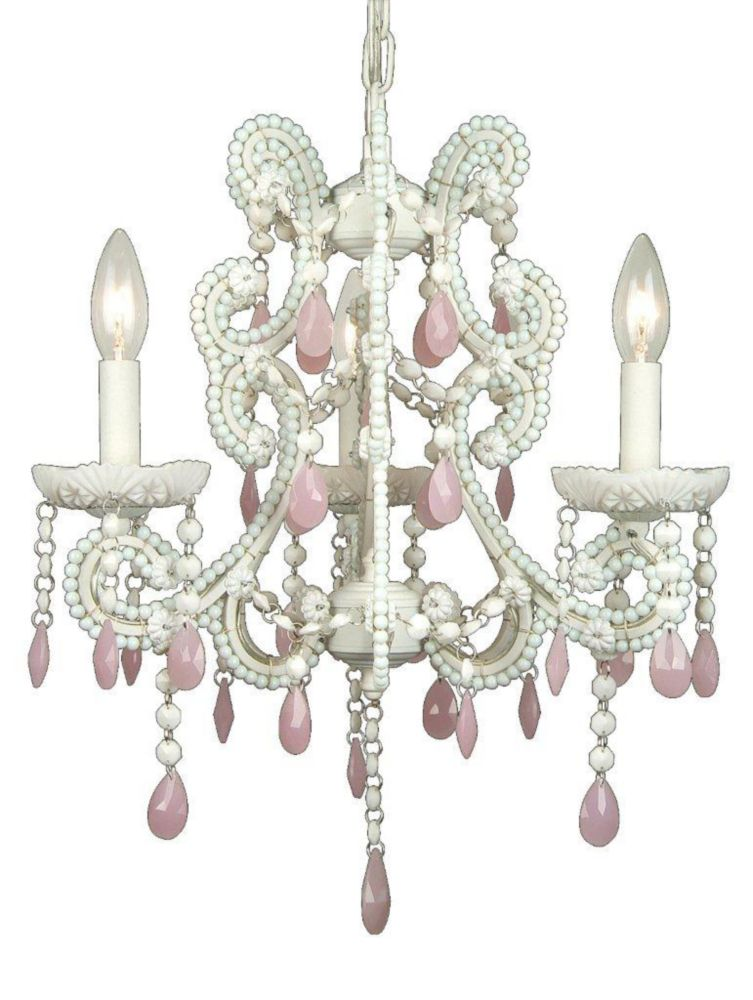 3 Light Chandelier Pink Finish
