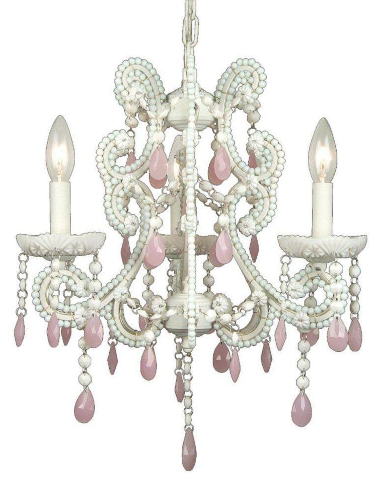 3 Light Chandelier Pink Finish