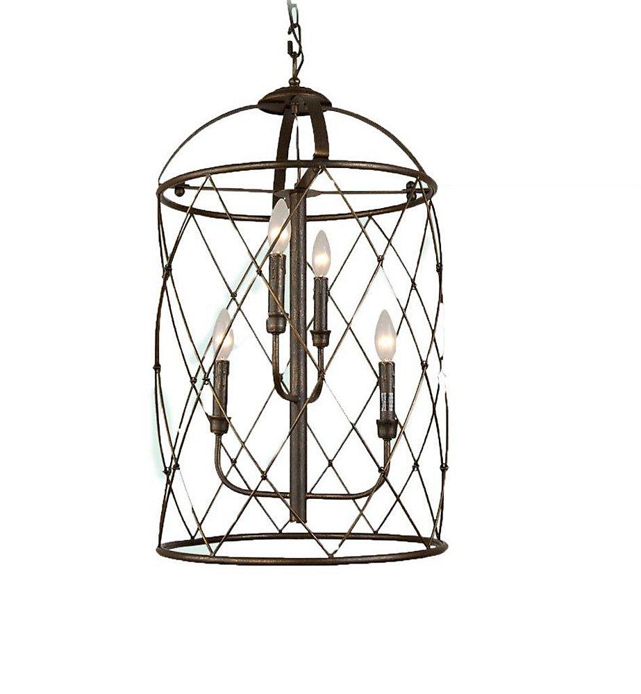 4 Light Ceiling Lantern Brown Finish