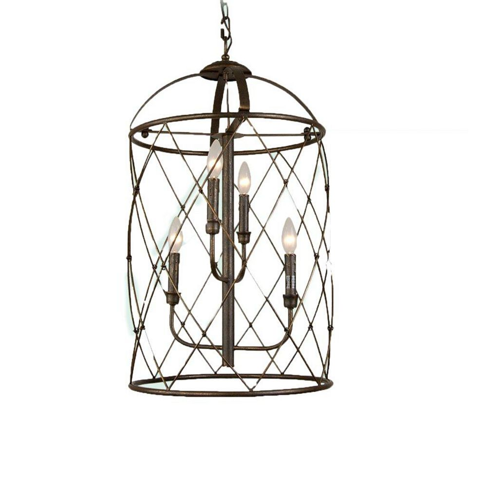 Illumine 4 Light Ceiling Lantern Brown Finish