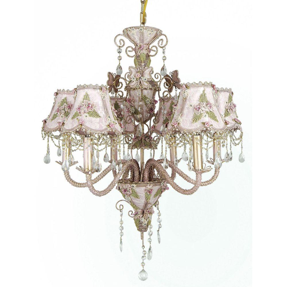 6 Light Daphne Lamp Pink Finish