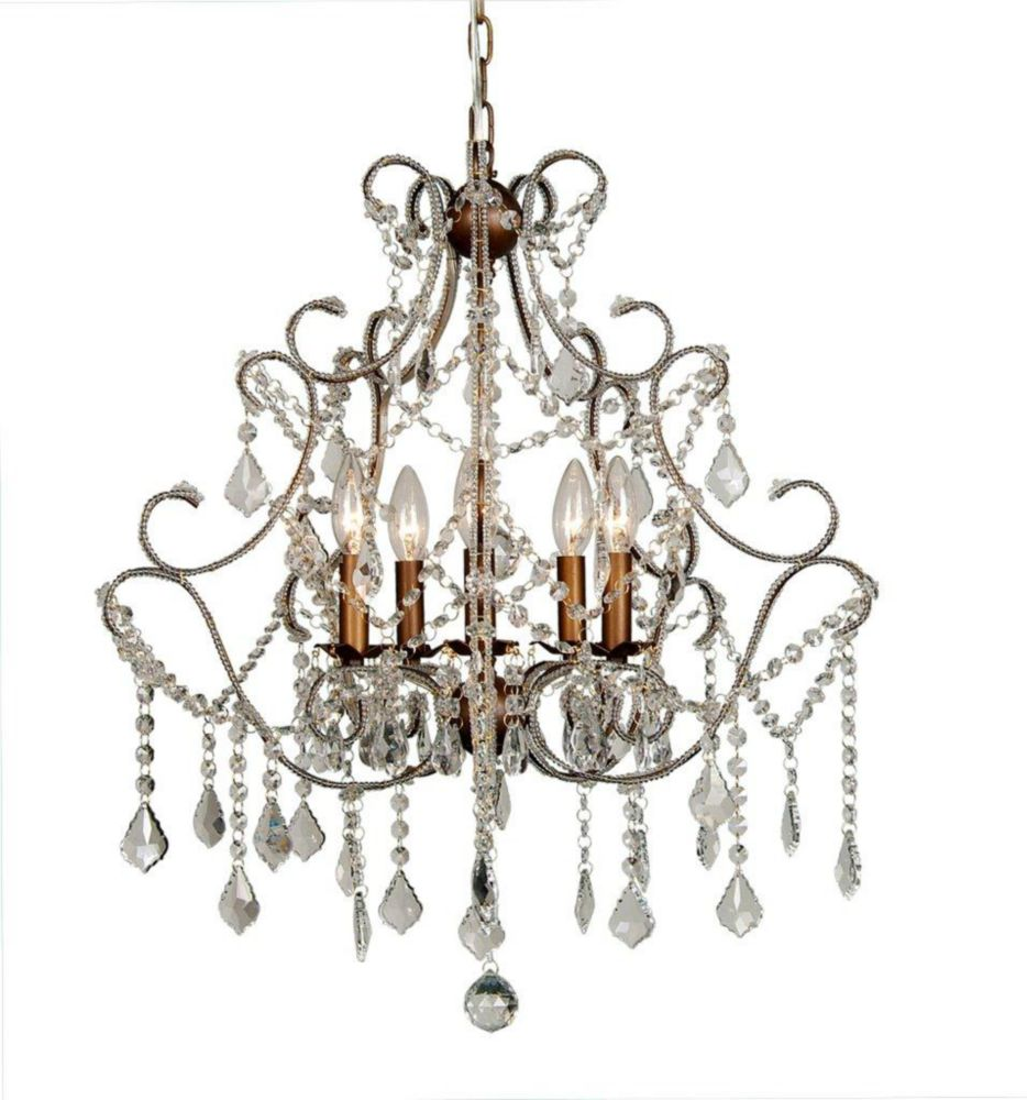 5 Light Chandelier Clear Finish