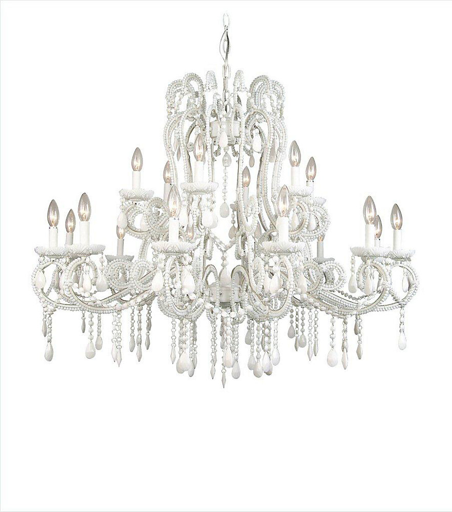 18 Light Crystal Ceiling Fixture White Finish