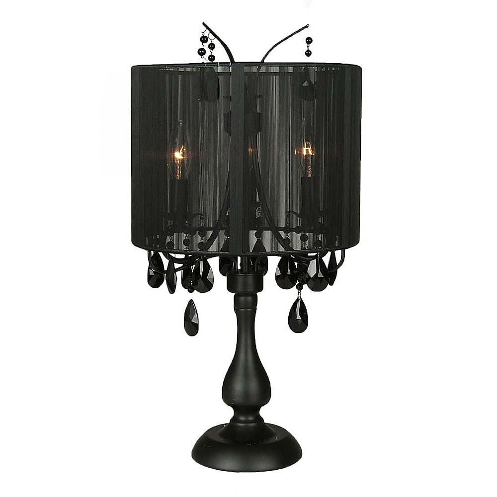 3 Light Table Lamp Black Finish