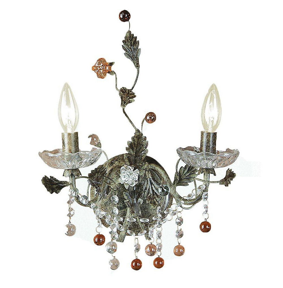 2 Light Wall Sconce Crystals