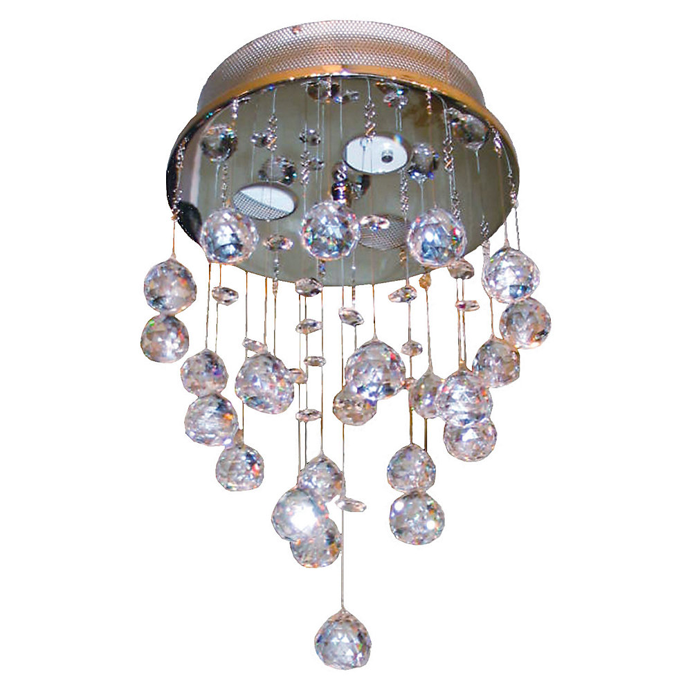 3 Light Ceiling Fixture Crystal Drops