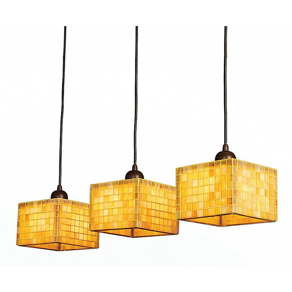 3 Light Ceiling Fixture Yellow Finish